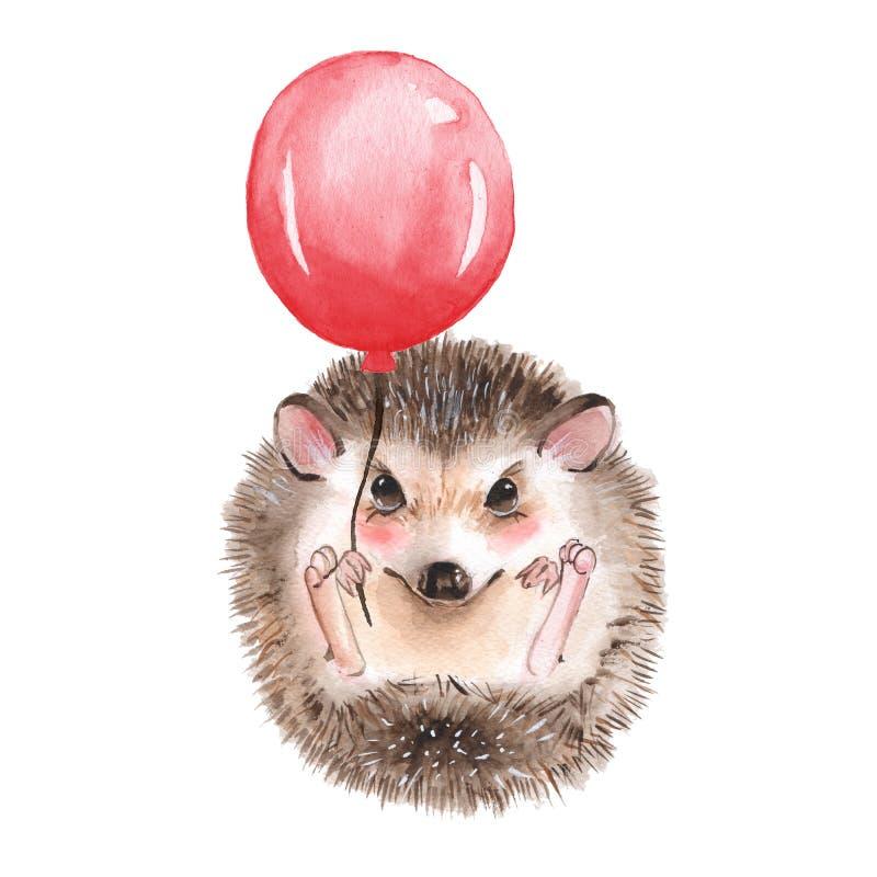 Erizo con el globo stock de ilustración