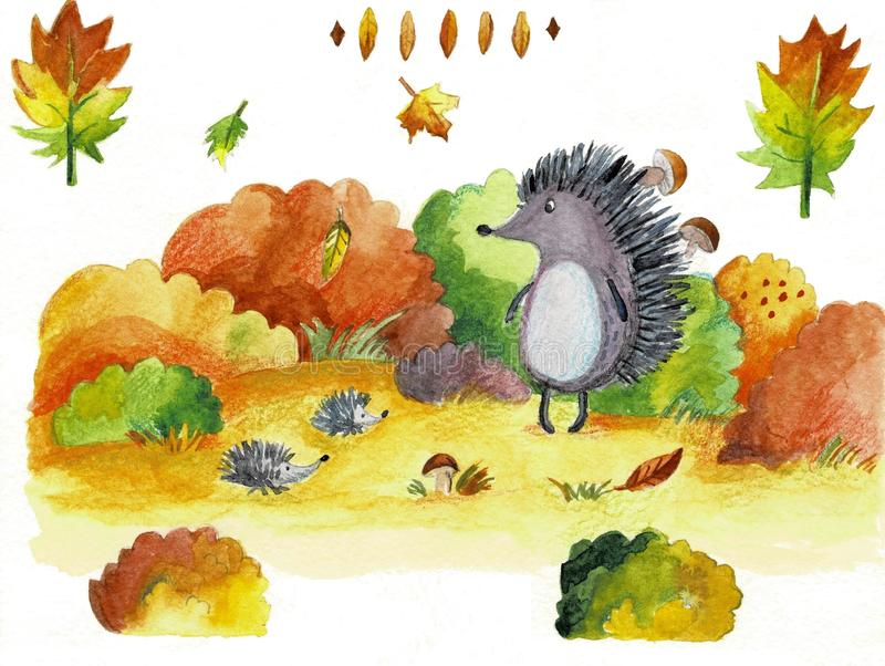 Erizo de la historieta del ejemplo de la acuarela del otoño stock de ilustración
