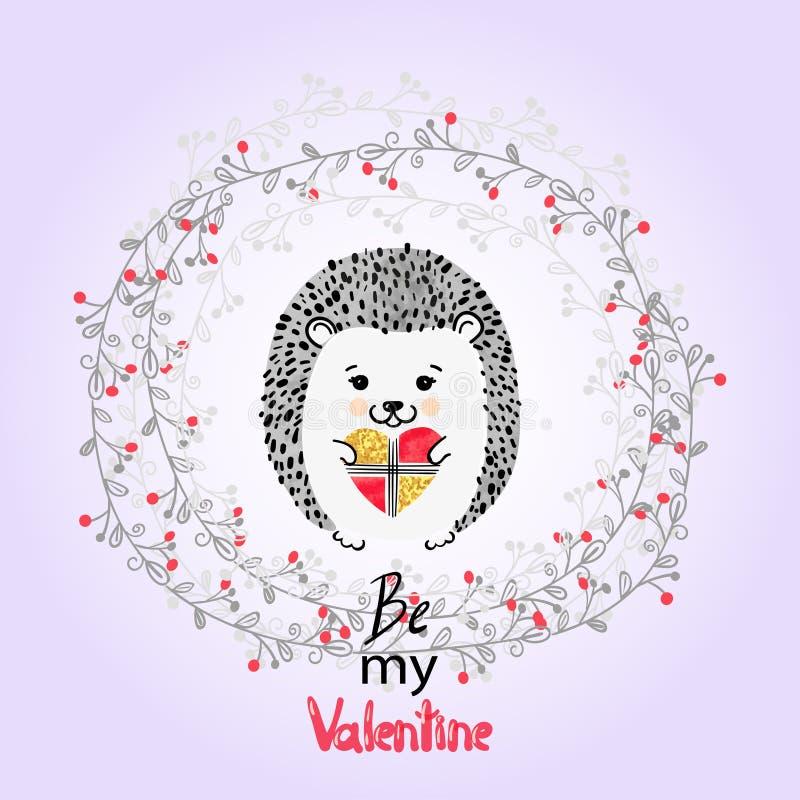 Erizo lindo con el presente Tarjeta del día de tarjetas del día de San Valentín ilustración del vector