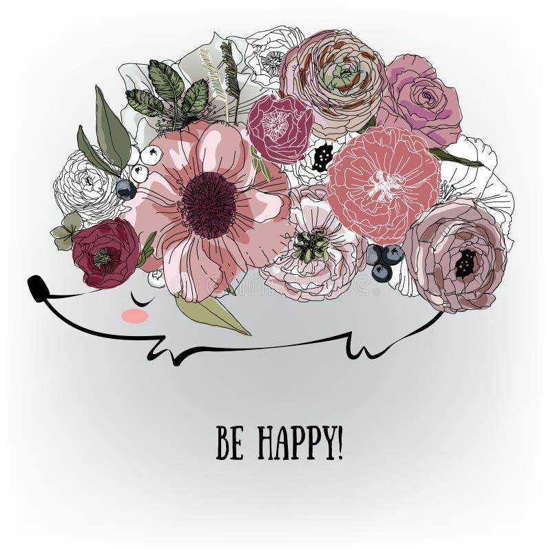Erizo lindo con las flores stock de ilustración
