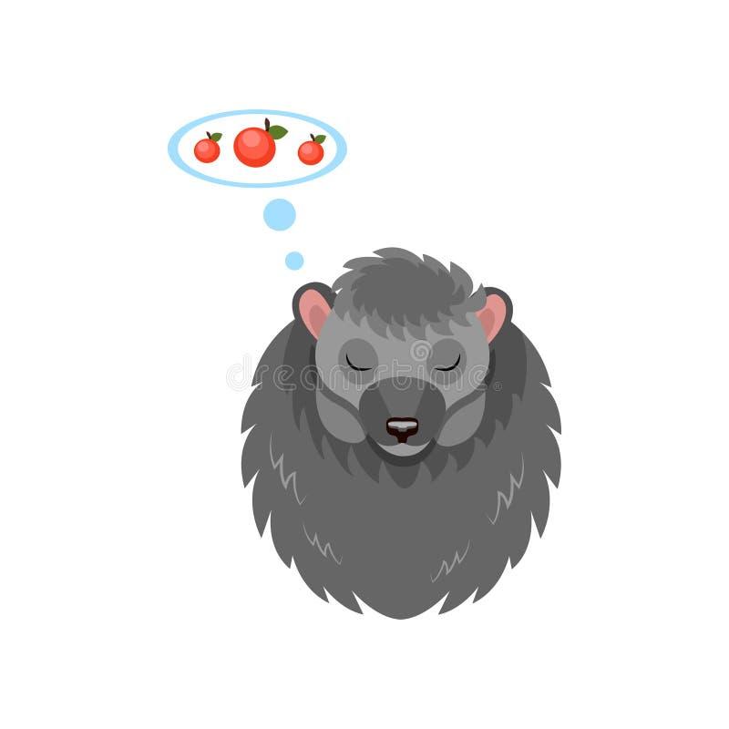 Erizo lindo que duerme y que sueña sobre las manzanas, ejemplo animal dulce del vector del personaje de dibujos animados en un bl libre illustration