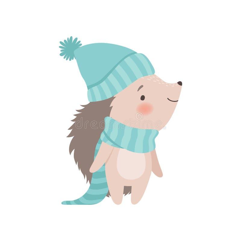 Erizo lindo que lleva el sombrero y la bufanda hechos punto azules claros, ejemplo animal espinoso adorable del vector del person ilustración del vector