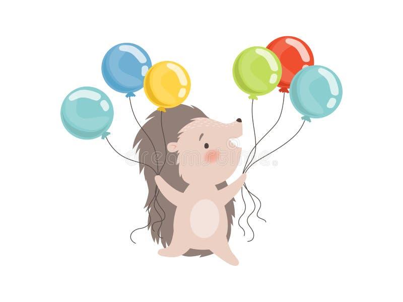 Erizo lindo que sostiene los globos coloridos, ejemplo animal espinoso adorable del vector del personaje de dibujos animados ilustración del vector
