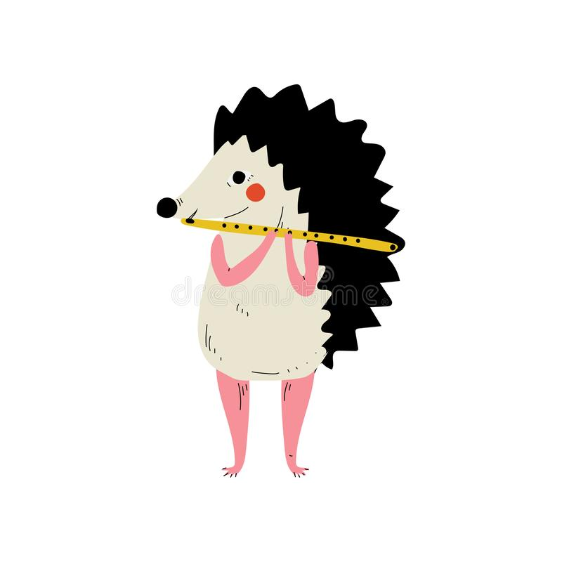 Erizo que toca la flauta, ejemplo animal del vector del instrumento de Character Playing Musical del músico de la historieta lind libre illustration