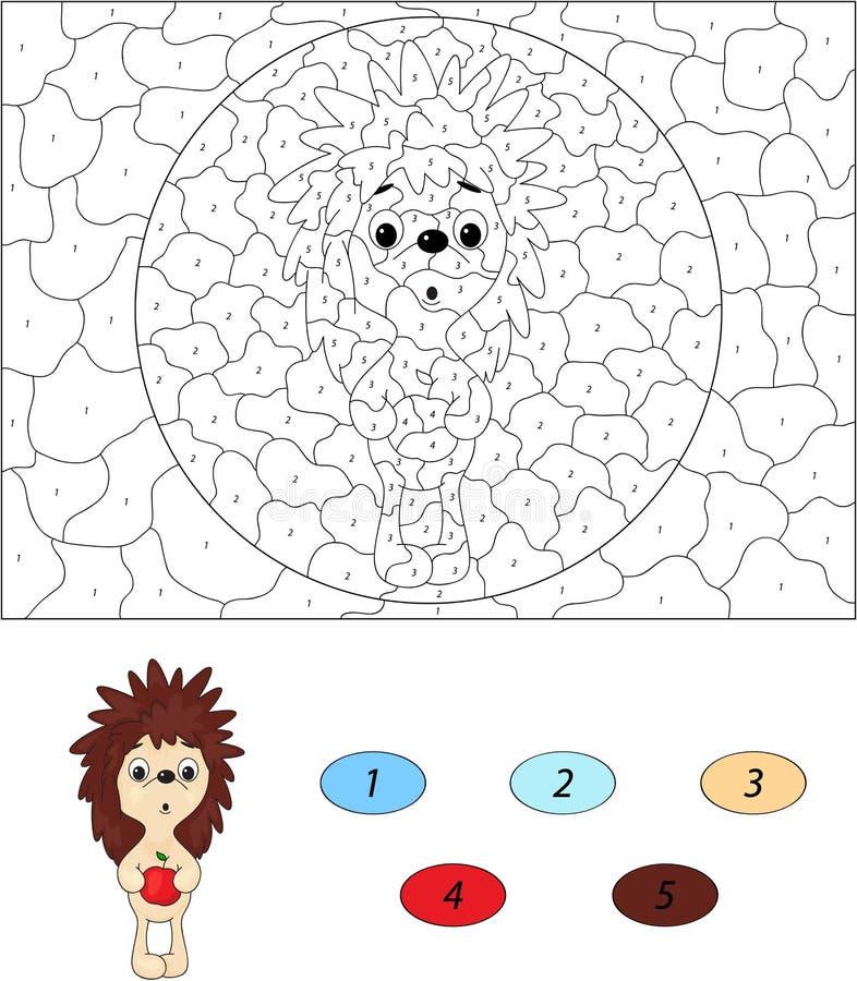 Erizo sorprendido con la manzana roja Color por el número g educativo stock de ilustración