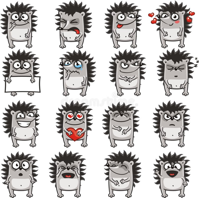 Erizos divertidos (2) stock de ilustración