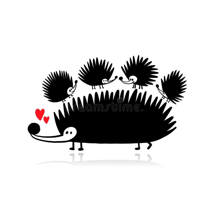 Erizos divertidos - madre y niños, silueta negra para su diseño ilustración del vector