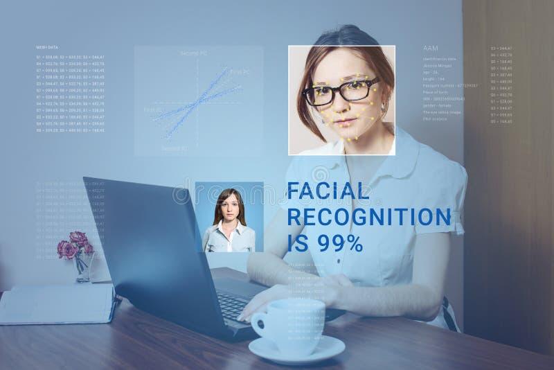 Erkännande av den kvinnliga framsidan Biometric verifikation och ID royaltyfria foton