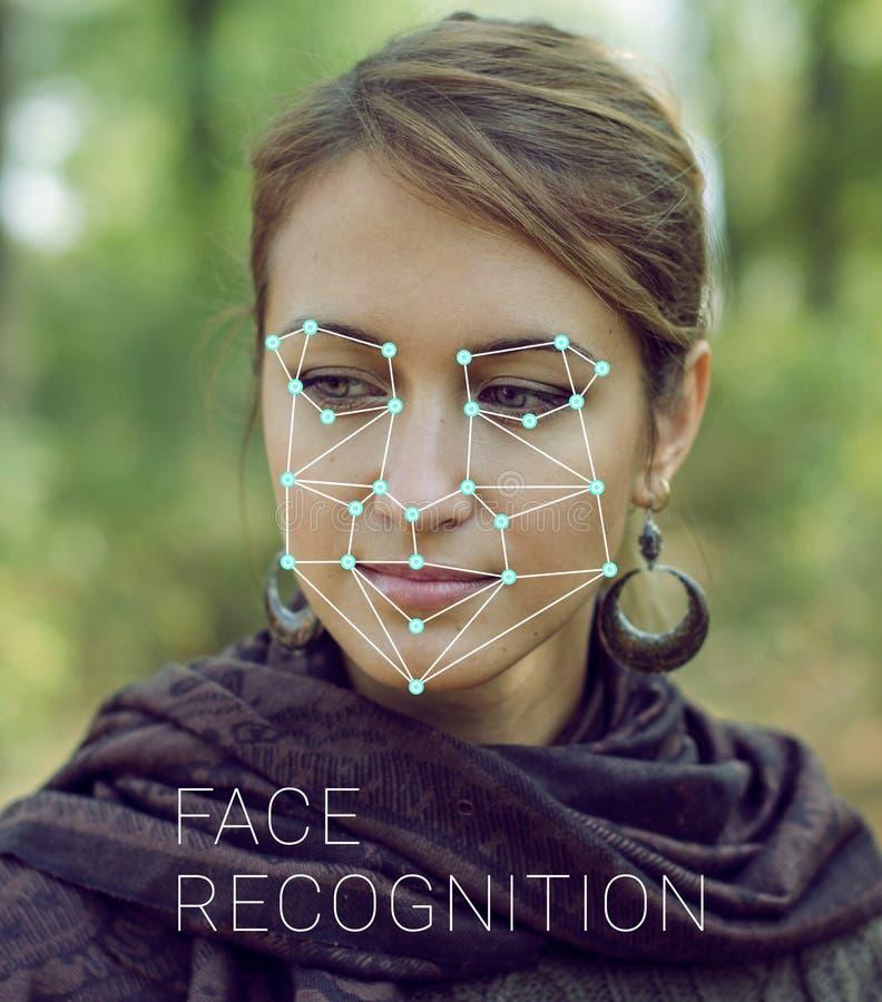 Erkännande av den kvinnliga framsidan Biometric verifikation och ID arkivfoto