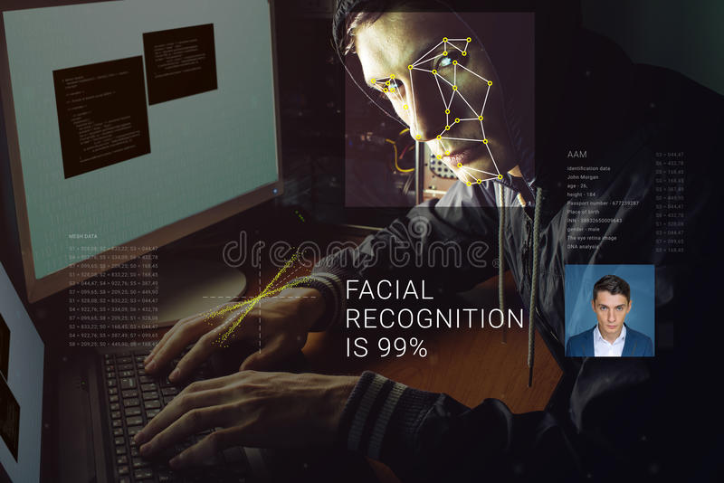 Erkännande av den manliga framsidan Biometric verifikation och ID arkivbilder