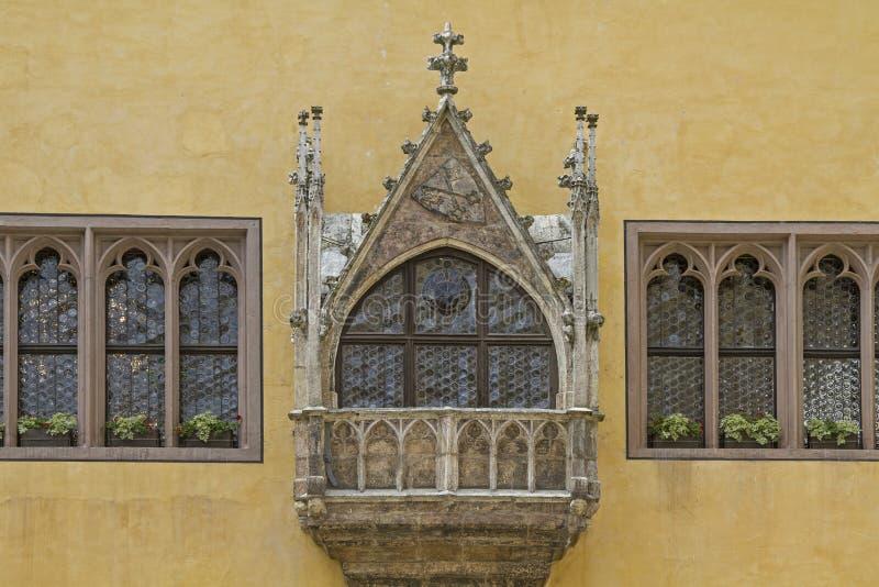 Erker en ayuntamiento viejo en Regensburg imagen de archivo libre de regalías