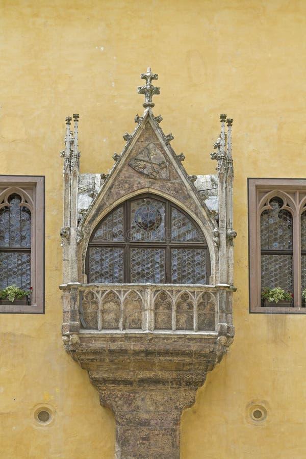 Erker en ayuntamiento viejo en Regensburg fotografía de archivo