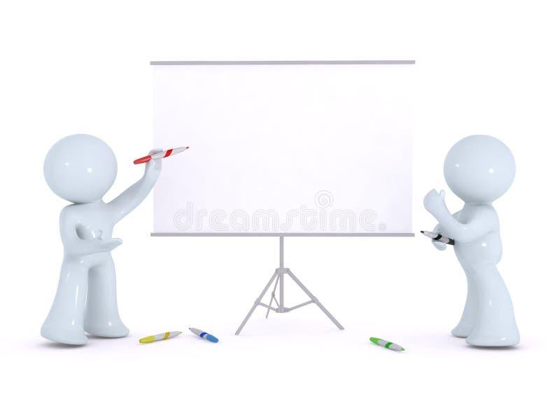 Erklären auf einem weißen Vorstand stockfotos