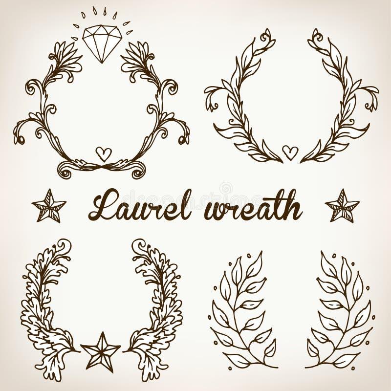 Erklimmen Sie mit Weinleseartgestaltungselementen, Gebrauch für Logo, Rahmen vektor abbildung