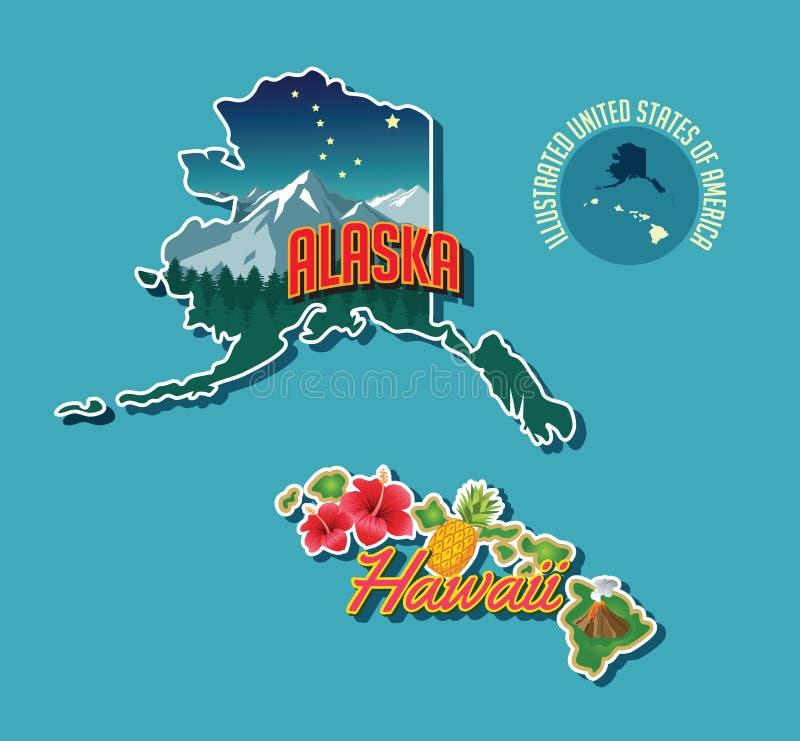 Erläuterte bildhafte Karte von Alaska und von Hawaii lizenzfreie abbildung