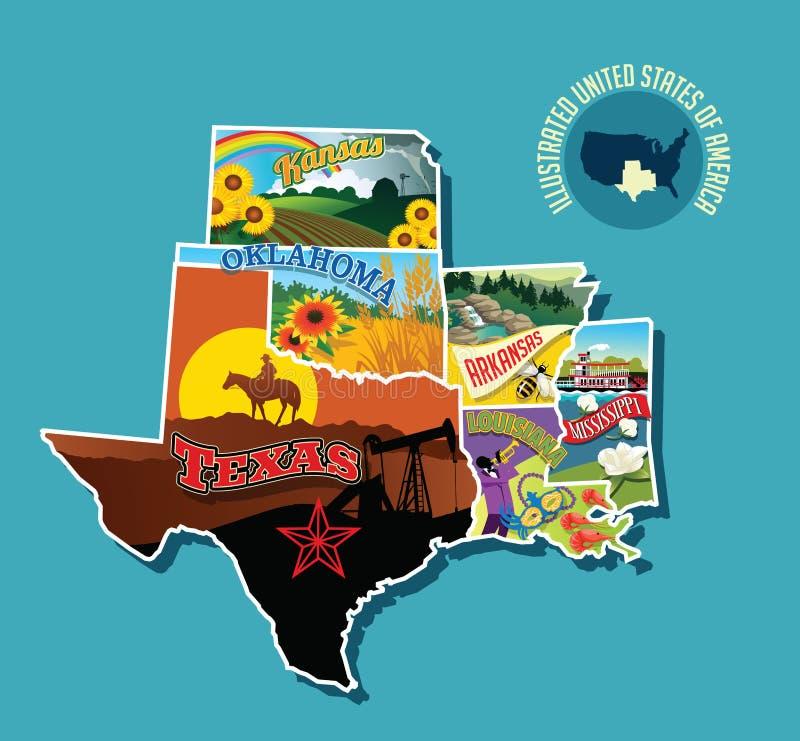 Erläuterte bildhafte Karte von Süd- Mittel-Vereinigten Staaten vektor abbildung