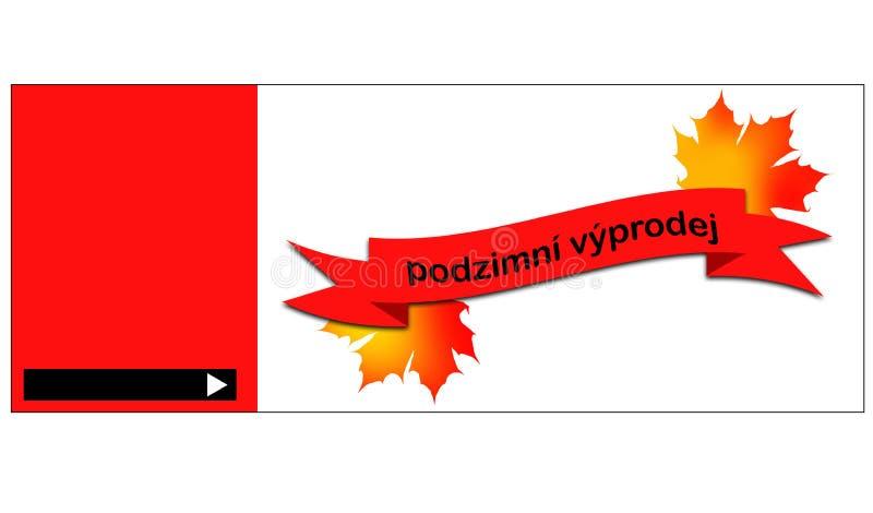 Erläuterte Schablone für Herbstverkaufsfahne mit tschechischer Beschriftung stock abbildung