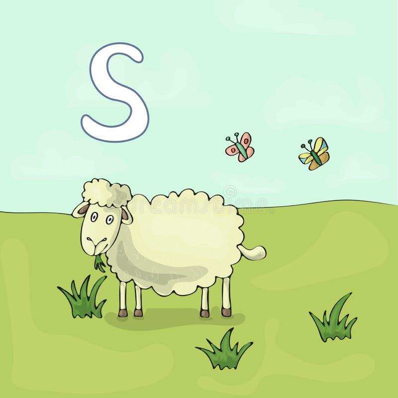 Erläuterter Alphabetbuchstabe S und Schafe ABC-Buchbild-Vektorkarikatur Schaf wird auf einer Wiese weiden lassen Kinder veranscha vektor abbildung