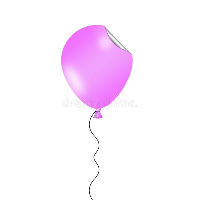 Erläuterter rosa Ballon mit lustigem gekräuseltem Aufklebereffekt lizenzfreie abbildung