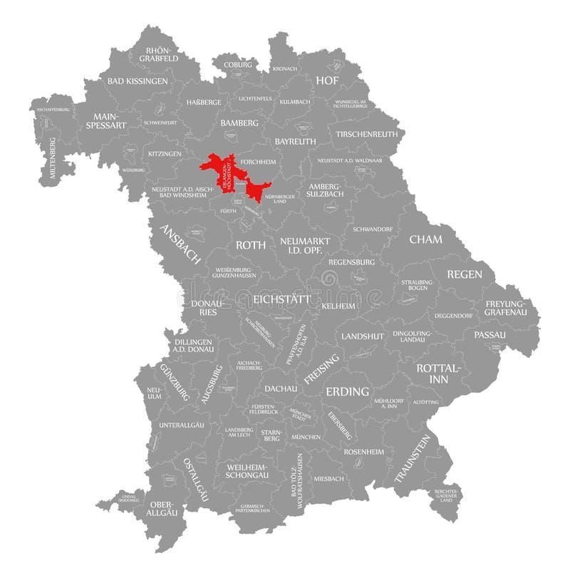 Erlangen-Hoechstadt okręgu administracyjnego czerwień podkreślająca w mapie Bavaria Niemcy royalty ilustracja