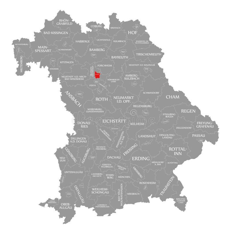 Erlangen okręgu administracyjnego czerwień podkreślająca w mapie Bavaria Niemcy ilustracji