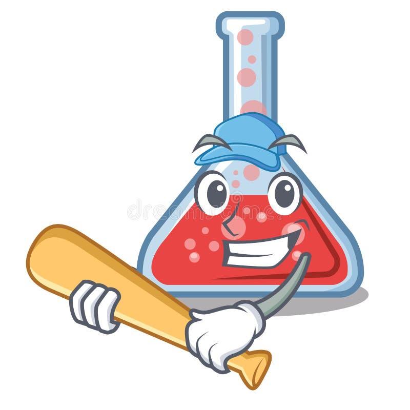 Erlenmeyer μπέιζ-μπώλ παιχνιδιού φιάλη που απομονώνεται στη μασκότ απεικόνιση αποθεμάτων