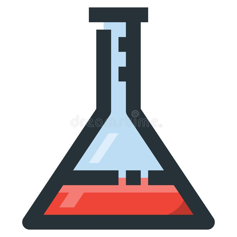 Erlenmeyer Flask Vector Filled Line Icon 32x32 Pixel Perfect. Ed. Itable 2 Pixel Stroke Weight. Colorful Medical Health Icon for Website Mobile App Presentation royalty free illustration