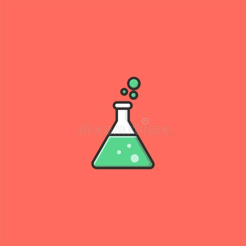 Erlenmeyer flaskor, design för laboratoriumexponeringsglaslogo vektor illustrationer