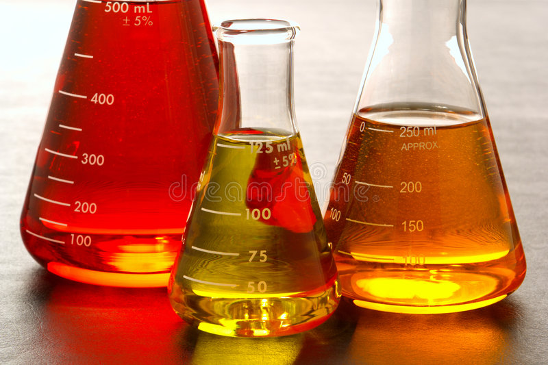 Erlenmeyer Flasks in Science Research Lab royalty free stock photography