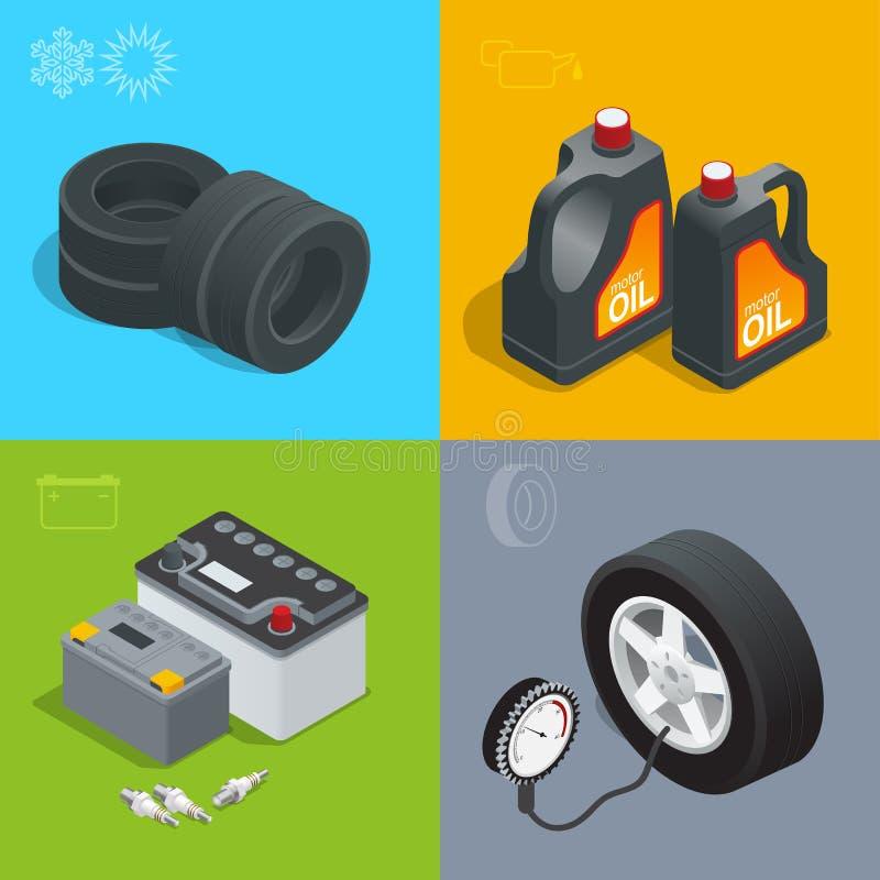Ermüden Sie Service-Autoauto, reparieren Sie isometrische Illustration des gesetzten Vektors der Ikonenebene Verbrauchsmaterialie stock abbildung