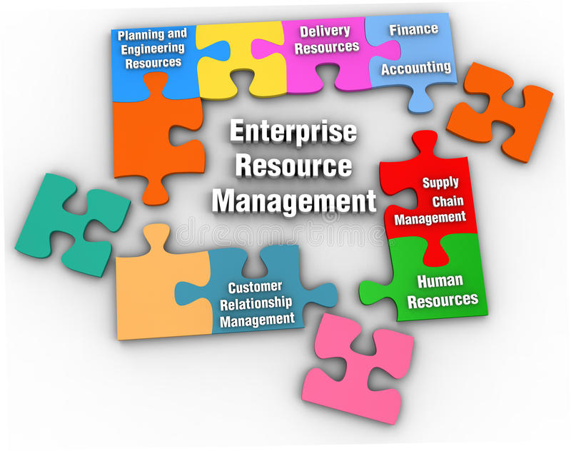 ERM Enterprise Resource Management Solution. ERM Puzzle solution to Enterprise Resource Management problems with clipping-path to extract shadow stock illustration