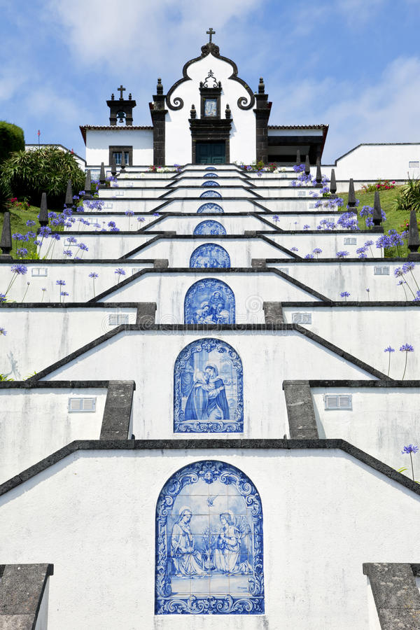 Ermida de Nossa Senhora da Paz, Sao Miguel, Azores. Our Lady of Peace chapel above the city of Vila Franca do Campo, Sao Miguel, Azores royalty free stock images