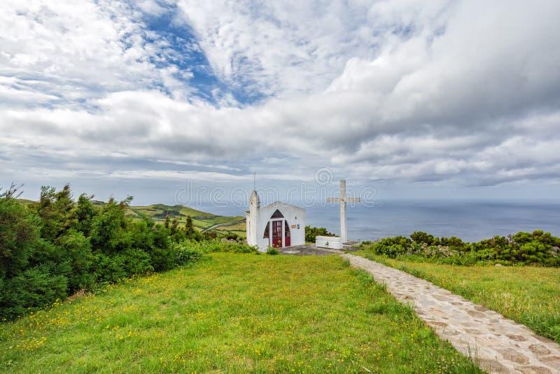 Ermida de Sao Joao Baptista. The small white Ermida de Sao Joao Baptista chapel above Ponta Delgada, on the island of Flores in the Azores royalty free stock photo