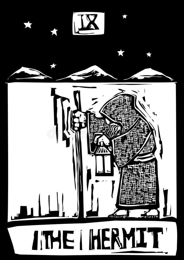 Ermitaño de la tarjeta de Tarot ilustración del vector