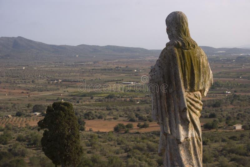 Ermita DE La Piedad (Ulldecona - Tarragona), waar het gebied van La-serralada in MontsiÄ  wordt gezien (Catalonië - Spanje) stock afbeelding