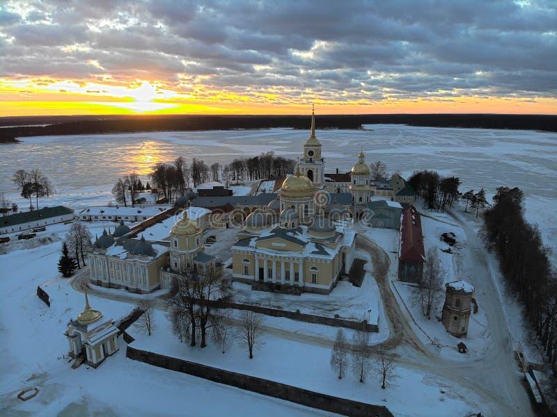 Ermita de Nilov en la puesta del sol foto de archivo libre de regalías