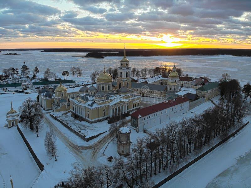 Ermita de Nilov en la puesta del sol fotografía de archivo libre de regalías
