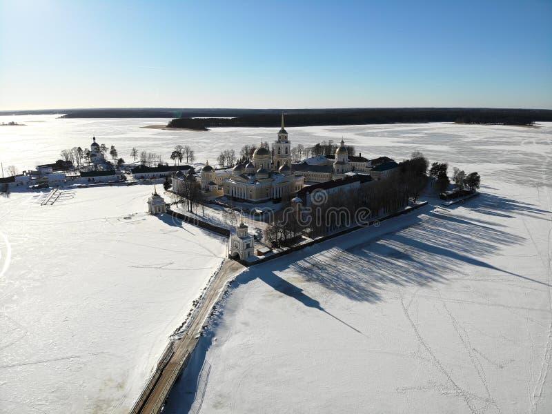 Ermita de Nilov, tiro del aire imagen de archivo libre de regalías