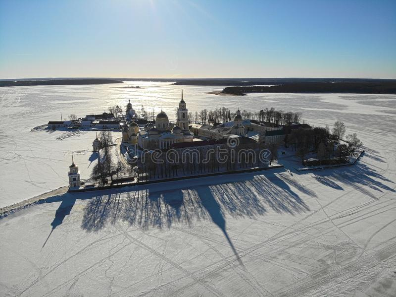 Ermita de Nilov, tiro del aire imagenes de archivo