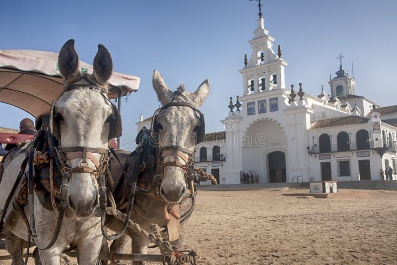 Ermita del EL Rocio en la provincia de Huelva foto de archivo