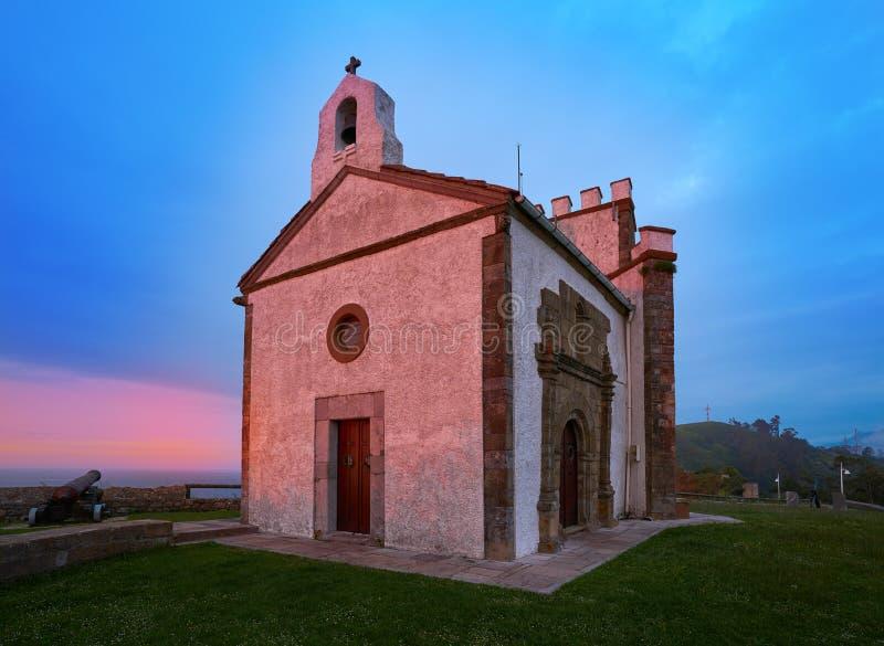 Ermita la Guia hermitage in Ribadesella Asturias. Of Spain royalty free stock photos
