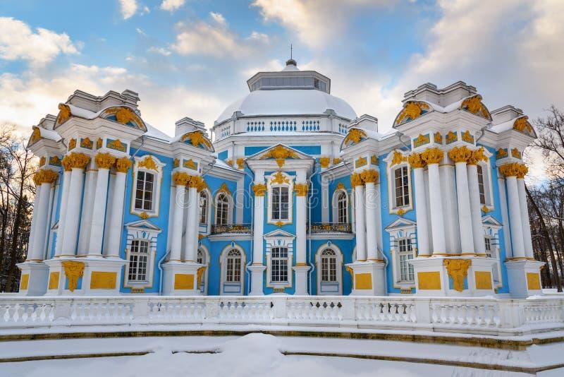 Ermitage de pavillon en parc de Catherine chez Tsarskoe Selo en hiver pushkin St Petersburg Russie images libres de droits