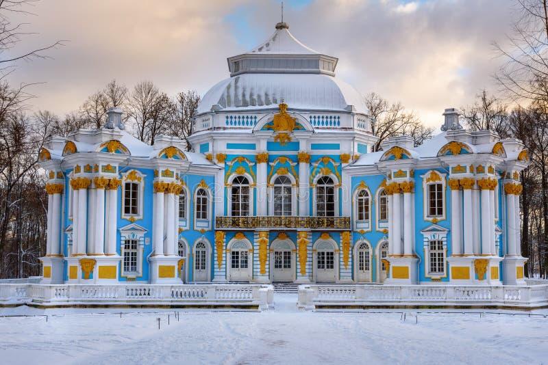 Ermitage de pavillon en parc de Catherine chez Tsarskoe Selo en hiver pushkin St Petersburg Russie images stock