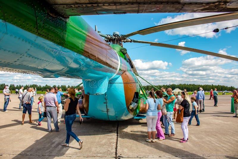 Ermolino, Rusland - Augustus 15, 2015: Open Dag bij de luchtmachtbasis in Ermolino stock foto