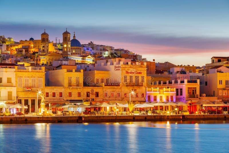 Ermoupoli, Syros. Ermoupoli, Greece - May 15, 2017: Seafront of Ermoupoli town on Syros island in Greece stock photography