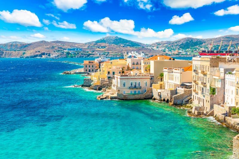 Ermoupoli, Syros, Greece. Colorful landscape. stock photo