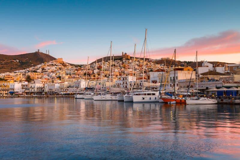 Ermoupoli, Syros. Ermoupoli, Greece - May 15, 2017: Ermoupoli town on Syros island in Greece royalty free stock photos