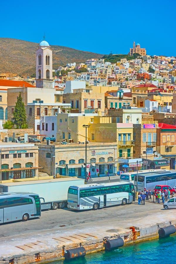 Ermoupoli town in Syra Island. Ermoupoli, Greece - April 20, 2018: Ermoupoli town in Syra Island, Cyclades stock images