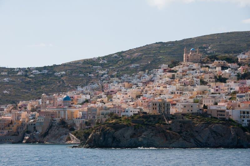 Ermoupolis Syros ö, Grekland arkivbilder