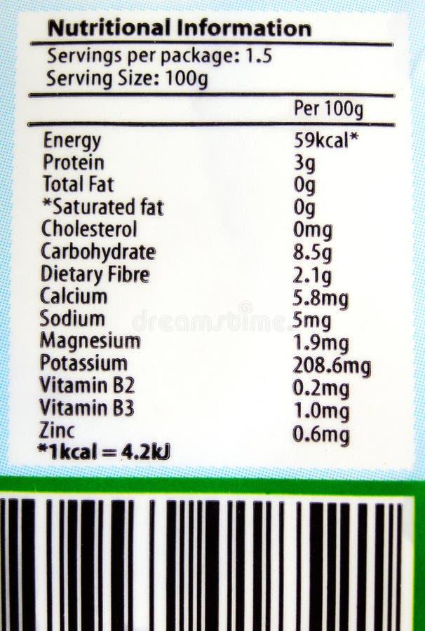 Ernährungskennsatzinfo lizenzfreie stockfotos